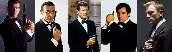 Pierce Brosnan, Sean Connery, Roger Moore, Timothy Dalton et Daniel Craig James Bond en smoking